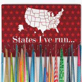 Running Hooked on Medals Large Medal Hanger Dry Erase Running The USA Map