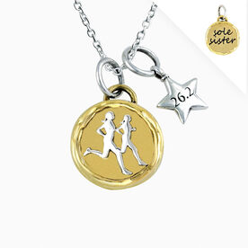 Livia Collection Brass and Sterling Silver Sole Sister Token 26.2 Necklace
