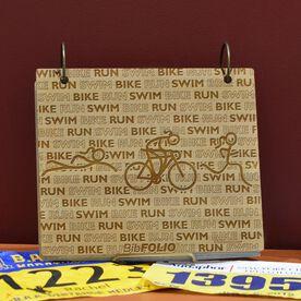 Engraved Bamboo Wood BibFOLIO Swim Bike Run Repeat Girls