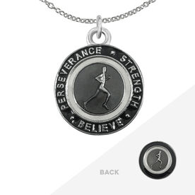 Runner's Creed Pendant Necklace - 1.5cm Grey/Black