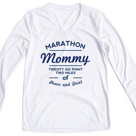 Women's Customized White Long Sleeve Tech Tee Marathon Mommy