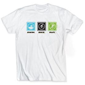 Triathlon Short Sleeve T-Shirt - Swim Bike Run (Blocks)
