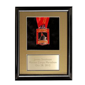 Black Wood Medal Display Frame for Runners and Triathletes  with Brass Engraved Plate