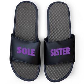 Running Navy Slide Sandals - Sole Sister Text