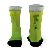 Running Printed Mid Calf Socks Will Run For Green Beer