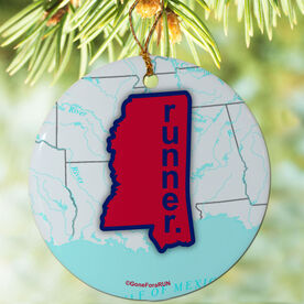 Mississippi State Runner (Red/Royal) Porcelain Ornament