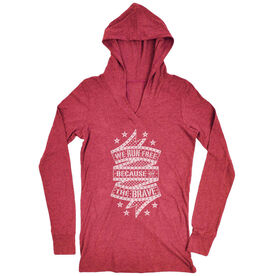 Women's Running Lightweight Performance Hoodie - We Run Free Because Of The Brave