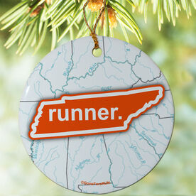 Tennessee State Runner (Orange/White) Porcelain Ornament
