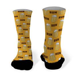 Running Printed Mid Calf Socks Run For Beer (Beer Mug Pattern)