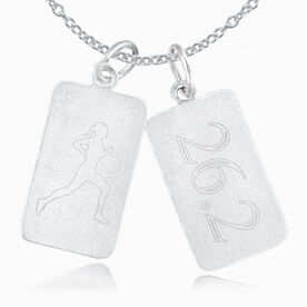 Sterling Silver 26.2 Rectangular Tag Charm & Runner Silhouette Rec. Tag Double Charm Necklace