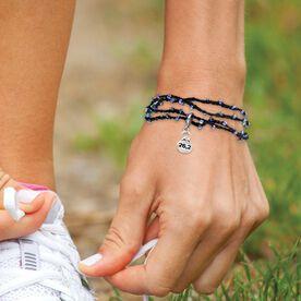 Choose Your Sterling Silver Charm Black Beaded Wrap Bracelet