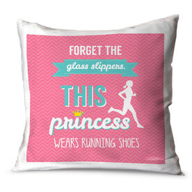 Running Throw Pillow Forget The Glass Slippers This Princess Wears Running Shoes (Chevron)