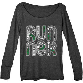 Women's Runner Scoop Neck Long Sleeve Tee Taurus Zodiac Runner
