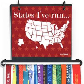 BibFOLIO Plus Race Bib and Medal Display Dry Erase Running The Usa Map