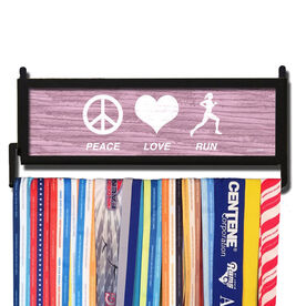 RunnersWALL Rustic Peace Love Run Medal Display