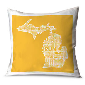 Running Throw Pillow Michigan State Runner