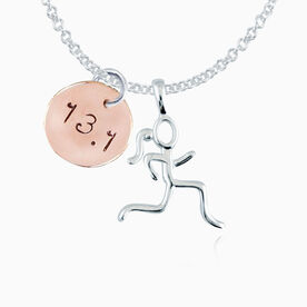 14K Rose Gold Filled 13.1 Hand Stamped Curly Font Charm & Sterling Stick Figure Runner Necklace