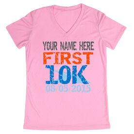 Women's Customized Pink Short Sleeve Tech Tee First 10K (Distressed)