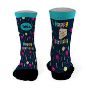 Running Printed Mid Calf Socks Happy Birthday Balloons and Cake (Your Name)