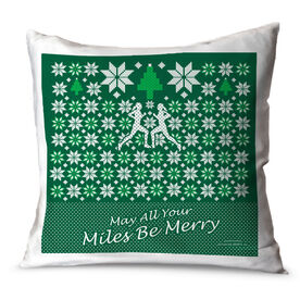 Running Throw Pillow May All Your Miles Be Merry (Christmas Sweater Style)