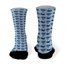 Running Printed Mid Calf Socks Whale Runner