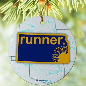 Kansas State Runner (Royal/Yellow) Porcelain Ornament