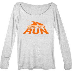 Women's Runner Scoop Neck Long Sleeve Tee  Gone For a Run Logo (Orange)