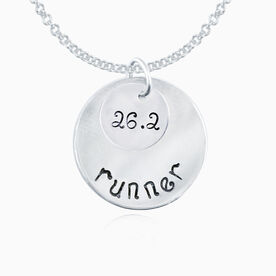 Sterling Silver Hand Stamped Curly Font 26.2 Runner Curly Font Double Layered Charm Necklace
