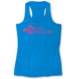 Women's Performance Singlet - She Runs This Town Logo (Pink)