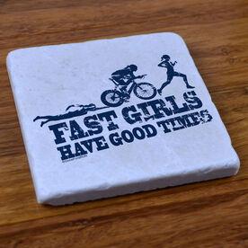 Tri Fast Girls Swim Bike Run - Stone Coaster