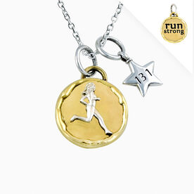 Livia Collection Brass and Sterling Silver Run Strong Token 13.1 Necklace