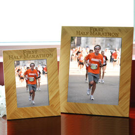 Bamboo Engraved Picture Frame First Half Marathon