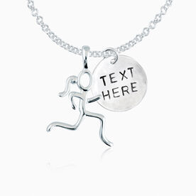 "Sterling Silver Personalized Block Font .5"" Hand Stamped Pendant & Stick Figure Runner Necklace"