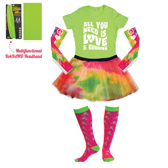 Tie Dye All You Need Is Love Running Outfit