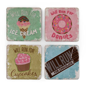 Running Stone Coaster Set of 4 - Will Run For Sweets