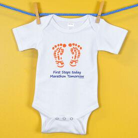 Baby One-Piece First Steps Today Marathon Tomorrow