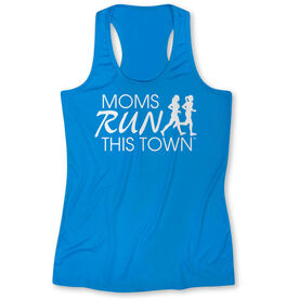 Women's Performance Singlet - Moms Run This Town Logo (White)