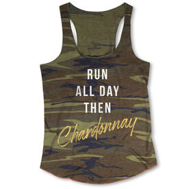 Running Camouflage Racerback Tank Top - Run All Day Then Chardonnay