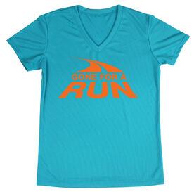 Women's Running Short Sleeve Tech Tee  Gone For a Run Logo (Orange)