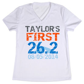 Women's Customized White Short Sleeve Tech Tee First Marathon (Distressed)