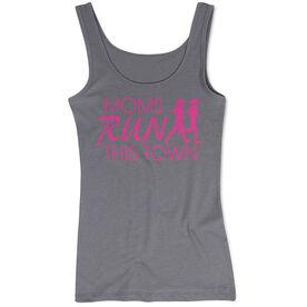 Women's Athletic Tank Top - Moms Run This Town Logo (Pink)
