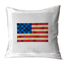 Running Throw Pillow - Squares Flag