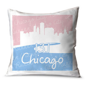 Running Throw Pillow Chicago Skyline