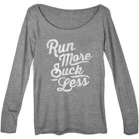 Women's Runner Scoop Neck Long Sleeve Tee Run Club Run More Suck Less (Script)