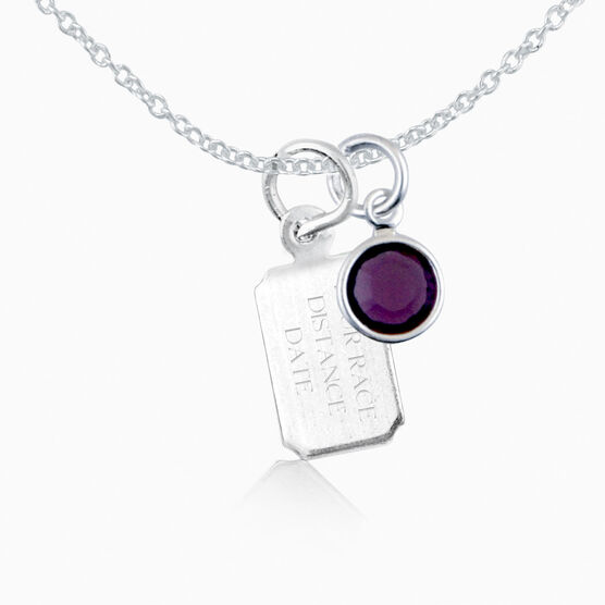 Sterling Silver RunTAG Mini Rectangular Tag Charm Necklace