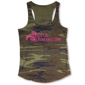 Running Camouflage Racerback Tank Top - She Runs This Town Logo (Pink)