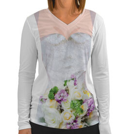 Women's Customized White Long Sleeve Tech Tee Wedding Dress