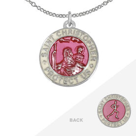 Runners St. Christopher Medal Necklace - Pink/White (1.9cm)