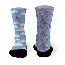 Running Printed Mid Calf Socks Flying Pig
