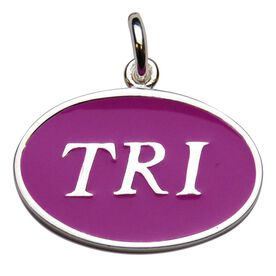 Sterling Silver Triathlon and Pink Enamel Charm